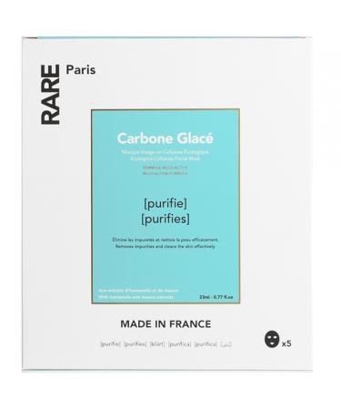 Набор из пяти черных тканевых масок для очищения и детокса кожи RARE Paris Carbone Glacé