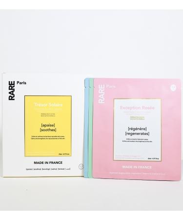Набор из четырех тканевых масок для лица в прозрачном боксе RARE Paris  Exception Rosée, Trésor Solaire, Elixir Intence, Carbone Glacé